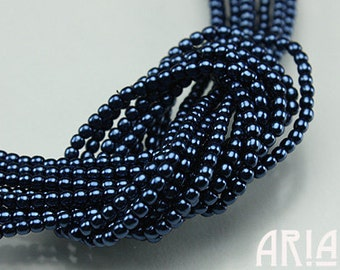 DARK BLUE: 2mm Czech Glass Pearl Beads (150 beads per strand)