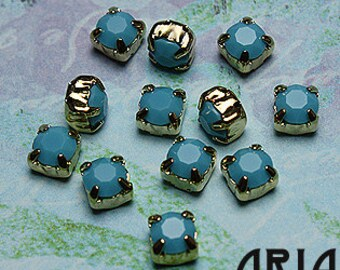 TURQUOISE: Swarovski SS29 6.5mm 17704 Xilion Gold Plated Two Hole Sew-On Slider Bead Component (12)