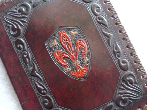 Embossing Fabric Book Cover : Fleur de lis embossed leather journal book cover art nouveau