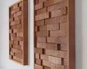 Modern REDWOOD 3D Wood Block Minimalist Wall Art  - set of two - SEQUOIA