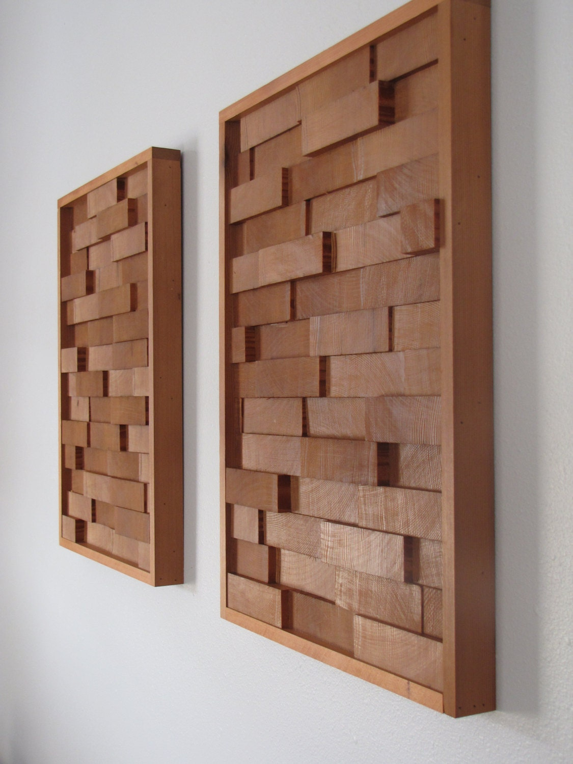 Modern redwood 3d wood block minimalist wall art set of two for Minimalist wall decor