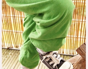corduroy baggy trousers Pant green striped cuffs dinosaur