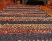 Hand Twined Country Colored Rag Rug With With Hand Tied Matching Fringe in Indigo  Free Shipping Code:  shpoff