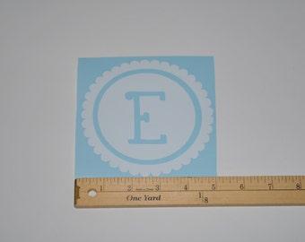 Single Initial Scallop Monogram Vinyl Decal Sticker