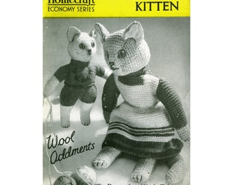Vintage Knitted Cat and Kitten Pattern PDF 443 from ToyPatternLand