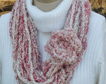 Scarf Crochet Chain Large Circle Infinity Pink Rose
