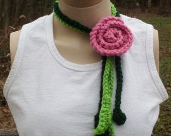 Crochet  Lariat Scarf Pink Rose