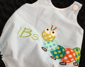 Seersucker Baby Boy's Bubble with Appliqued Catipillar and Monogram Sizes NB to 24mos