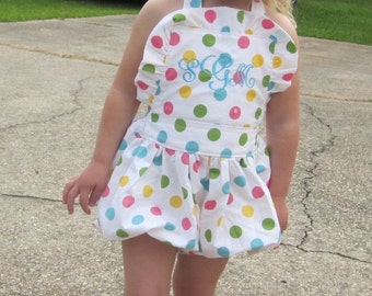 Sophie Sun Suit Bubble Summer PolkaDots Monogramed Sizes 6mos to 4yrs