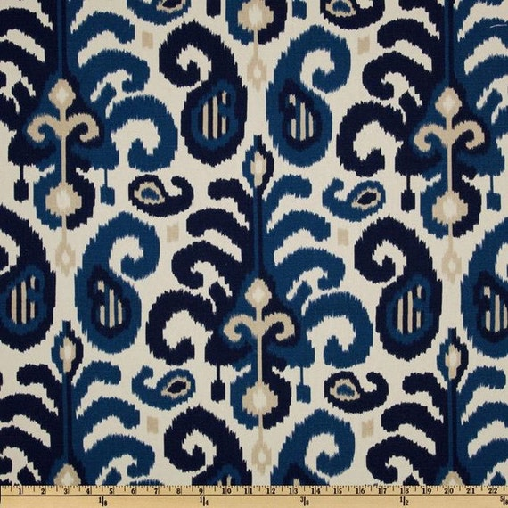 Fabric By The Yard Blue Ikat Fabric Suburban Home Rasul Blue