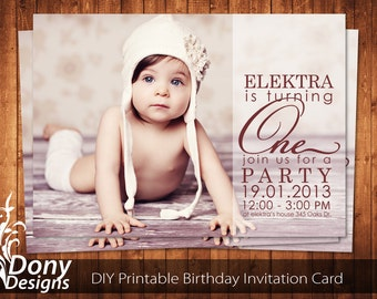 BUY 1 GET 1 FREE Photo Birthday Invitation Photocard Photoshop Template Instant Download: cardcode-113