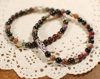FREE SHIPPING - Natural Tourmaline Gemstone Couple Bracelet - Karma, Fortune, Aura