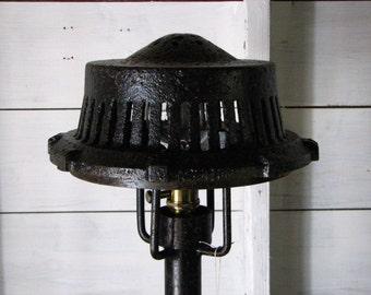 vintage industrial floor lamp black with explosion by snodoniron. Black Bedroom Furniture Sets. Home Design Ideas