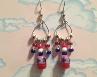 Patriotic Teardrop Dangle Earrings