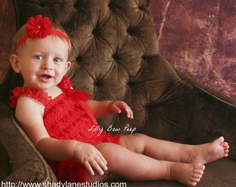 15% OFF-Red Blossom Flower Headband Or Romper-Preemie-Baby Girl-Infant-Newborn-Toddler-Child-Fancy-Outfit