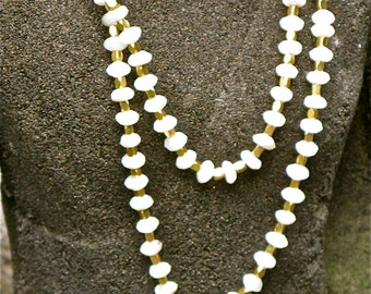 mother of pearl ,pyrite ,tahitian pearl  mala necklace
