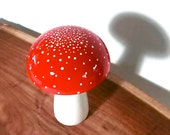 Trippy Toadstool - Wooden Mushroom - Red Stardust - WoodrockTurning