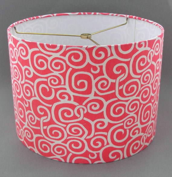 Drum Lamp Shade Coral Amp White Medium Size Lampshade 12x9