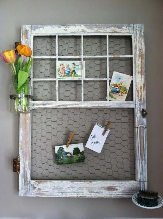 Items similar to repurposed upcycled window frame for Picture frame organization wall