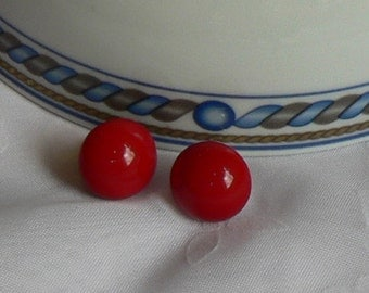 Red Domed Shaped Post Earrings Vintage 1970s