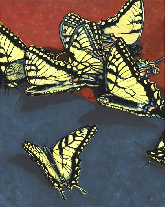 Items similar to Butterflies, giclée print of acrylic ...