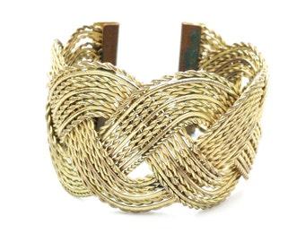 Vintage Basket Weave Brass Cuff Bracelet