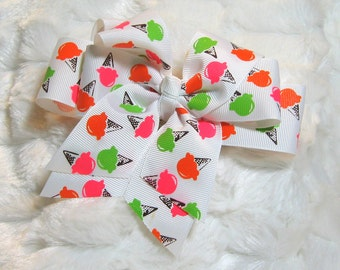 Lime Pink and Red Ice Cream Cone Girls 5 inch Double Hair Bow on Solid White Ribbon