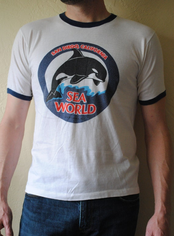 Vintage 1970s Sea World San Diego California 1978 Ringer T-shirt size L