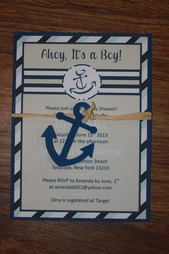 nautical little sailor baby shower invitation with anchor raffia wrap