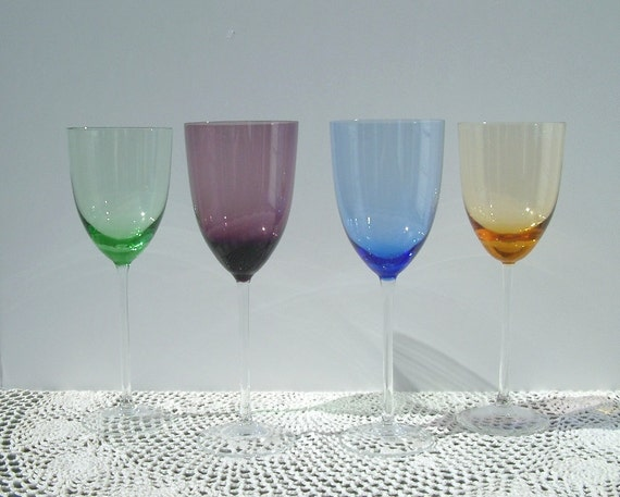 vintage lenox colored wine glasses set of 4 by glitteryjunk