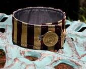 Handmade Silk Cuff Bracelet Garnet and Gold