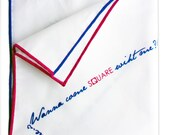 SALE: Wanna Come Home With Me Pocket Square Handkerchief - Cotton White Pink Blue Pocket Square Love Flirt Wedding - Christmas Gift for him