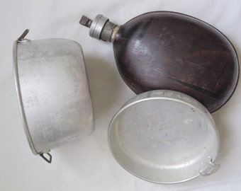 VINTAGE Antique Canteen Water Bottle MILITARY SET , Father's day Gift