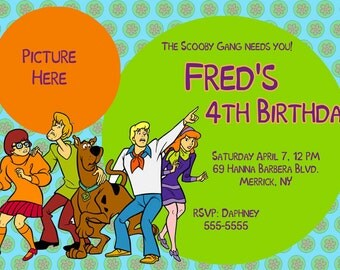Custom Photo Invitations Scooby Doo Birthday Invitation
