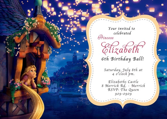 CUSTOM PHOTO Invitations Disney Princess Rapunzel Tangled