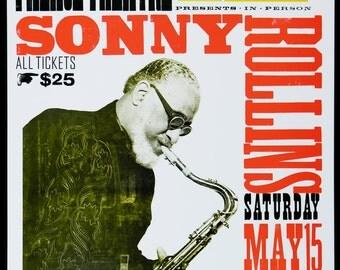SONNY ROLLINS Hand Printed Letterpress Poster