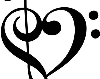 Music heart vinyl car decal
