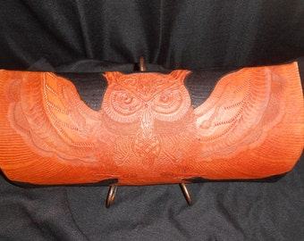 Owl tooled in Leather with intricate details