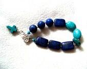 Handcrafted Healing Bracelet, Chakra Bracelet, Turquoise Lapis Lazuli Cross and Sterling Silver Bracelet