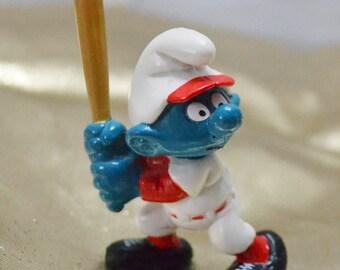 Vintage Baseball Batter Smurf Figurine Figure 1980s Toy Peyo Schleich