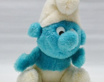 Vintage Stuffed Smurf Doll - Toy - Plush - 1980
