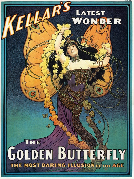 Old Magic Poster Vintage Kellar illusion Golden Butterfly Alphonse Mucha Style Mystic Magic Magician Poster 24 X 32 Fine Art Print Giclee