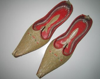 Gold Embroidered Traditional Women's Shoes.