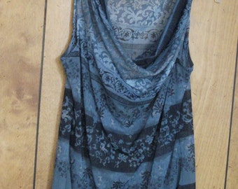 Navy and Blue Cowl Neck Sleeveless Top