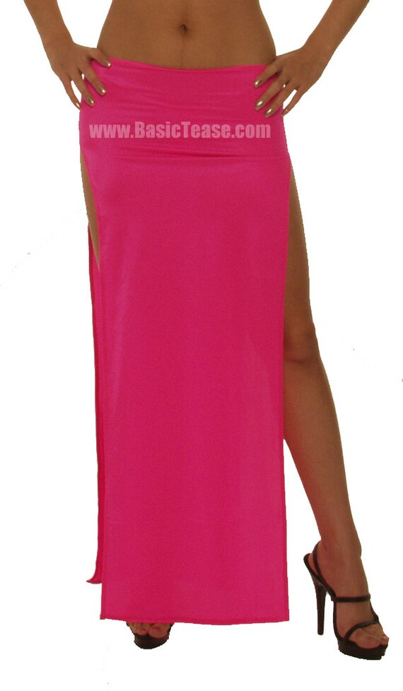 Long Two Side Slit Stripper Skirt for Exotic Dancers or Cover Up on the Beach