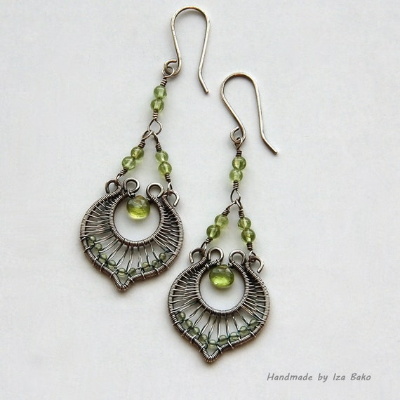 Handmade, Elegant, Original, Wire Wrapped Sterling Silver Chandelier Earrings with Peridot Gemstones