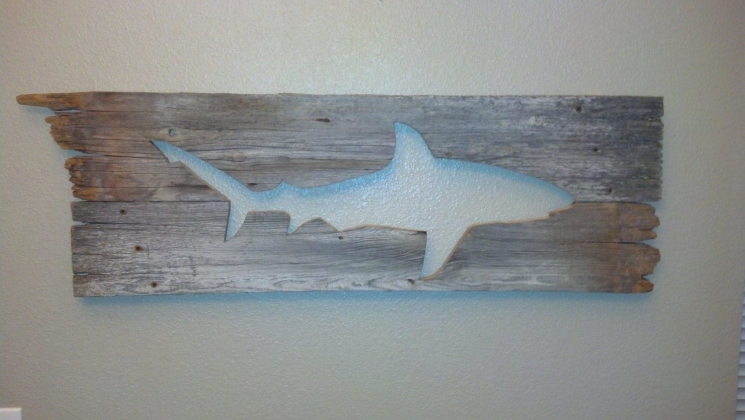 Wall Hanging Artwork : Galapagos shark barn wood wall art hanging decor