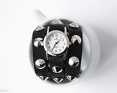 Free Shipping - black leather bracelet with silver ConIcal Spikes wrap around wrist with silver watch face