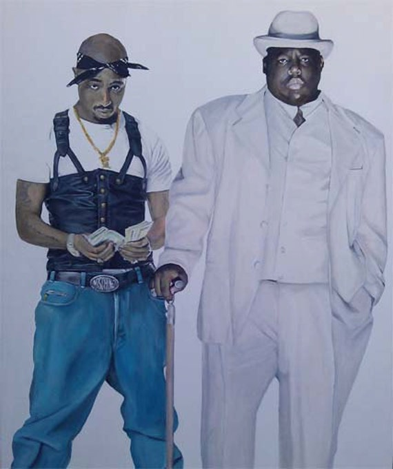 Tupac and Notorious BIG Acrylic handpainted art canvas Tupac And Biggie Painting