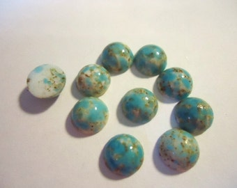 """Light Turquoise Blue Speckled Opaque Glass """"Bird Egg"""" stone Round 8mm - 10 pieces Vintage Jewellery Supplies"""